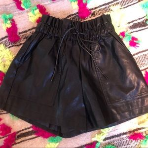 NWOT black high waisted faux leather shorts